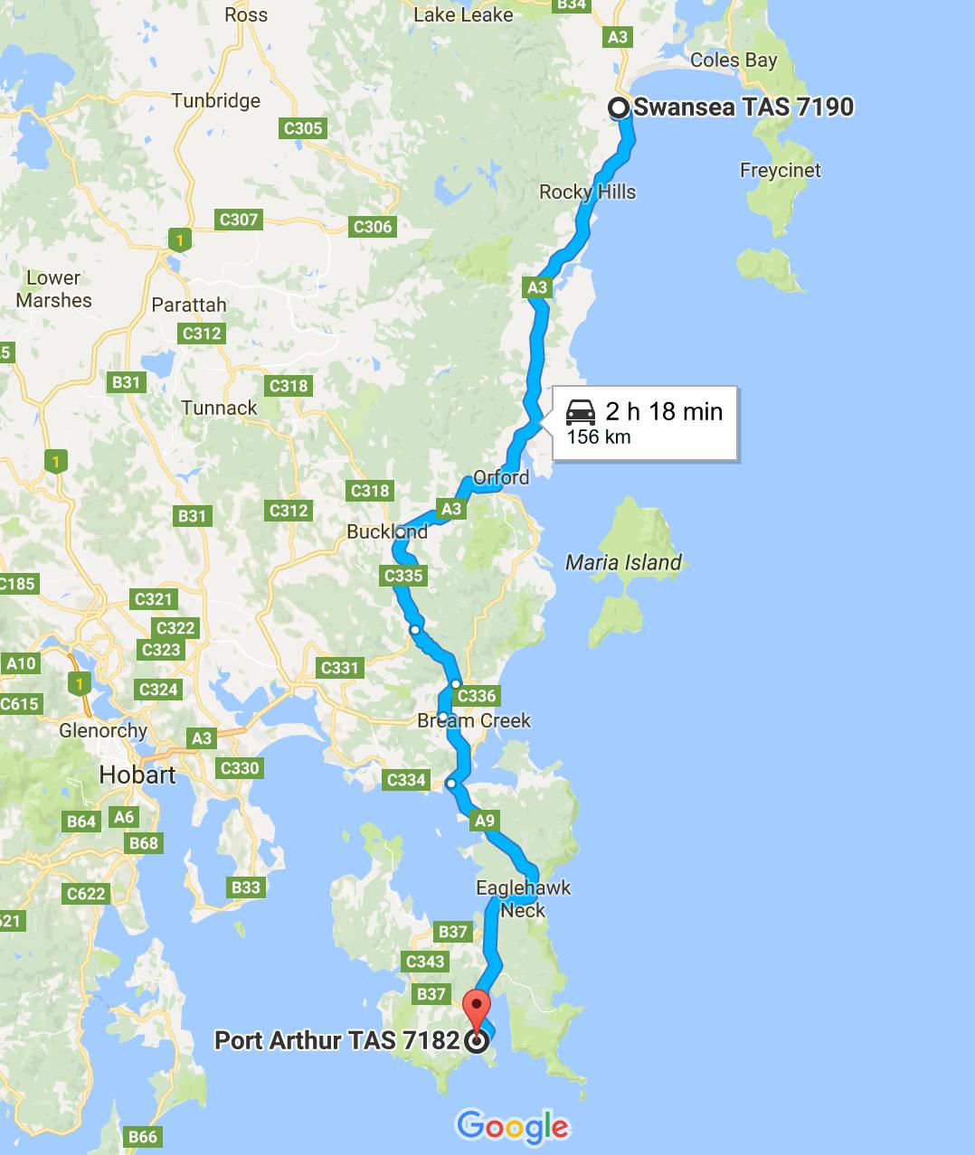 tasmania port arthur swansea road trip itinerary