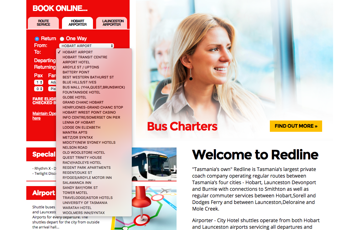 hobart airporter shuttle bus service hotels